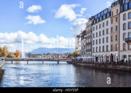 An urban landscape of Lake Leman in Geneva, Switzerland. - Stock Photo