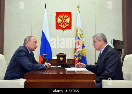 Moscow Region, Russia. 21st Oct, 2016. Russia's President Vladimir Putin (L) and Russian Prosecutor General Yuri - Stock Photo
