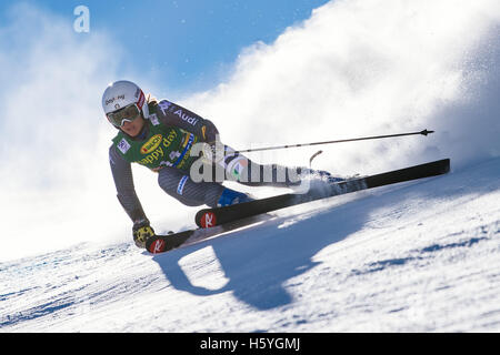 Solden, Austria. 22nd Oct, 2016. Irene Curtoni of Italy competes during the first run of the FIS World Cup Ladies - Stock Photo