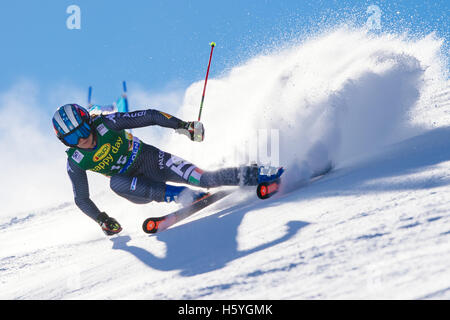 Solden, Austria. 22nd Oct, 2016. Manuela Moelgg of Italy competes during the first run of the FIS World Cup Ladies - Stock Photo