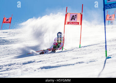 Solden, Austria. 22nd Oct, 2016. Mikaela Shiffrin of of USA competes during the first run of the FIS World Cup Ladies - Stock Photo