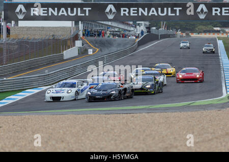 October 22, 2016. Estoril, Portugal. Start of the Race of Michelin GT3 Le Mans Cup, during the European Le Mans - Stock Photo