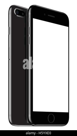Vector illustration of Jet Black iPhone 7 Plus on white background. Devices displaying blank screen. - Stock Photo