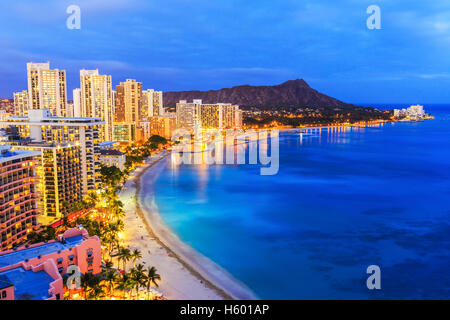 Honolulu, Hawaii. Skyline on the Waikiki beach. - Stock Photo