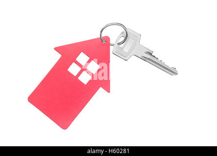Key and key fob in the shape of a house on a white background. - Stock Photo