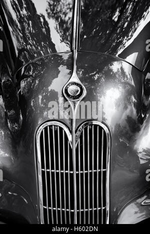 1949 Bristol 400 2 ltr vintage car at Bicester Heritage Centre. Oxfordshire, England. Black and White - Stock Photo