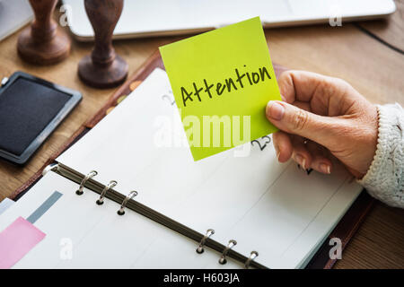 Attention Urgent Planner Agenda Concept - Stock Photo