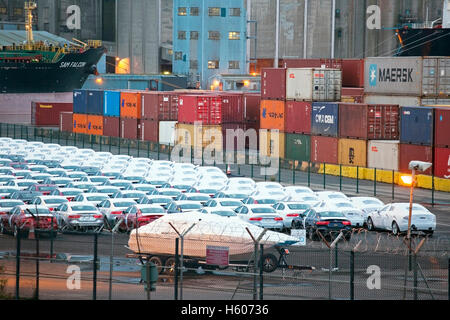 British exports and imports being unloaded and loaded at Seaforth Docks, Liverpool2, Merseyside,  UK - Stock Photo