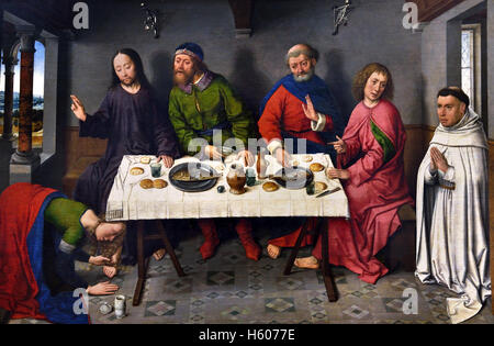 Christ in the House of Simon BOUTS (1415-1475) ( Jesus at the house of Simon, the Pharisee, and a sinful woman anoints - Stock Photo