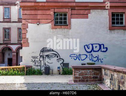Darmstadt, Hesse, Germany. Graffiti on The Stadtschloss (City Palace) or Residential Palace (Residenzschloss) building - Stock Photo