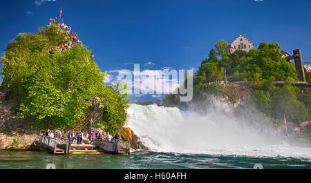 Rhine falls,  the largest plain waterfall in Europe near Schaffhausen, Switzerland - Stock Photo
