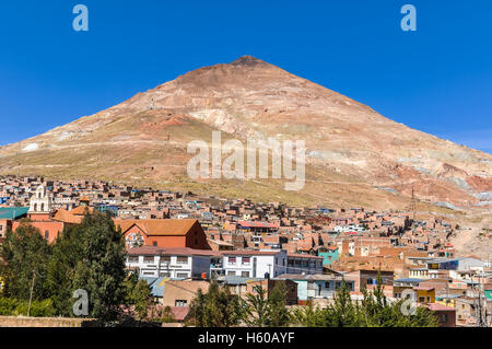 Huayna Potosi mountains famous for its silver mines in Bolivia - Stock Photo