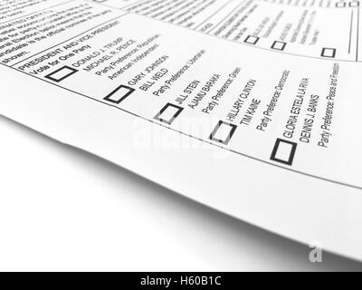 2016 USA Presidential general election sample ballot and voter ...