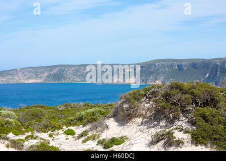 view of Flinders Chase national park on Kangaroo island and the Southern ocean from the Remarkable rocks, South - Stock Photo