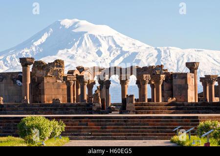 Ruins of the Temple of Zvartnots in Yerevan, Armenia. - Stock Photo