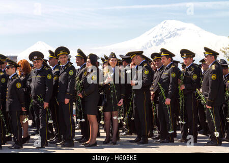 Armenian military at the genocide memorial in Yerevan, Armenia at the centennial of the Armenian genocide in 2015. - Stock Photo
