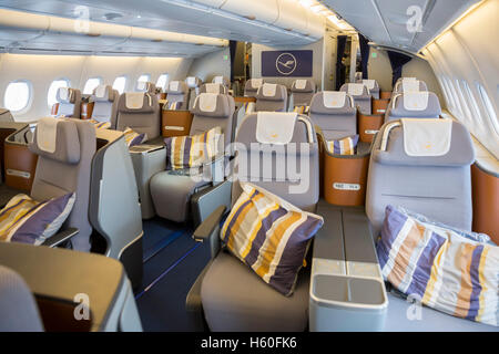 Sofia, Bulgaria - October 16, 2016: The inside of Lufthansa Airbus A380 airplane. The Airbus A380 is a double-deck, - Stock Photo