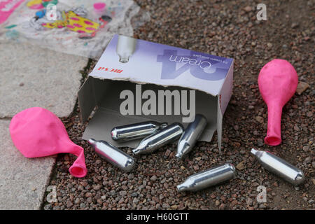 Nitrous Oxide canisters, balloons and boxes litter the Thames Path after youths spend the night inhaling the  laughing - Stock Photo