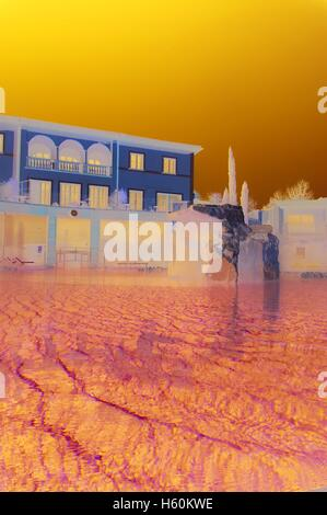 one of the outdoor pools of the hotel adler in bagno vignoni tuscany italy