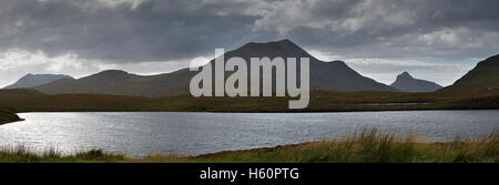 Desolate wilderness of Coigach & Assynt in Sutherland, Scottish Highlands, Scotland, UK - Stock Photo