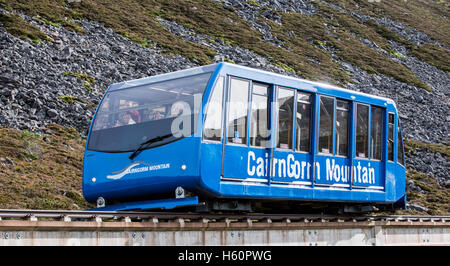 Carriage of the Cairngorm Mountain funicular, highest railway in the United Kingdom in the Cairngorms National Park, - Stock Photo