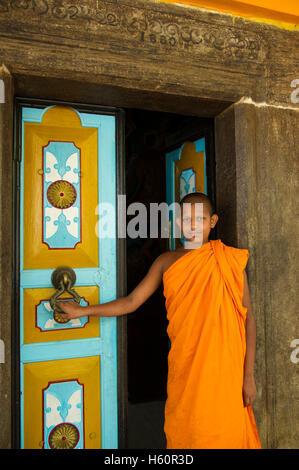Monk at Dhowa rock temple, Ella, Sri Lanka - Stock Photo