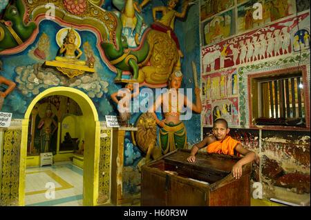 Monk in Dhowa rock temple, Ella, Sri Lanka - Stock Photo
