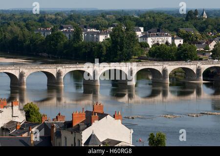 Loire river and Cessart bridge at Saumur, commune in the Maine-et-Loire department, Pays de la Loire region in western - Stock Photo