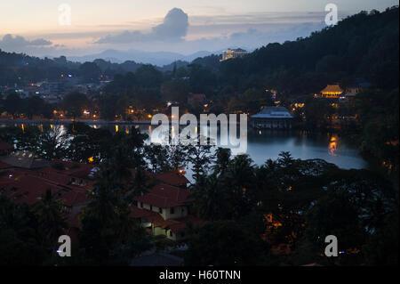 Kandy Lake at night, Kandy, Sri Lanka - Stock Photo