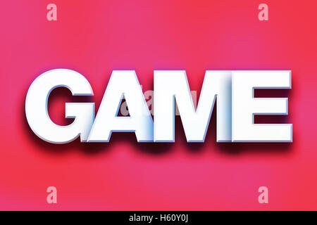 The word 'Game' written in white 3D letters on a colorful background concept and theme. - Stock Photo