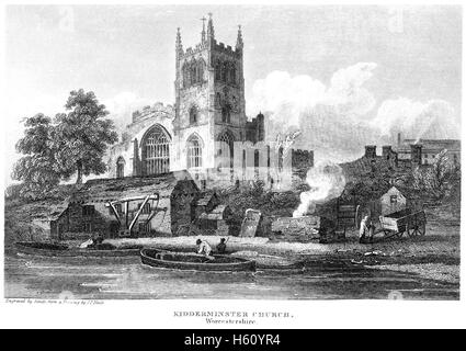 An engraving of Kidderminster Church, Worcestershire scanned at high resolution from a book printed in 1812. - Stock Photo