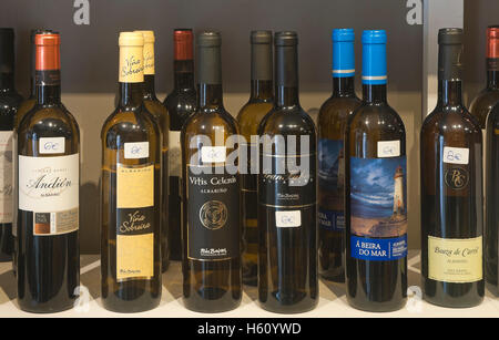 Galician Albariño wine bottles, Cambados, Pontevedra province, Region of Galicia, Spain, Europe - Stock Photo