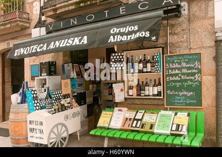 Wine shop, Cambados, Pontevedra province, Region of Galicia, Spain, Europe - Stock Photo