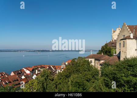 The Old Castle Meersburg and  Lake Constance  in Meersburg,  Baden-Württemberg, Germany, - Stock Photo