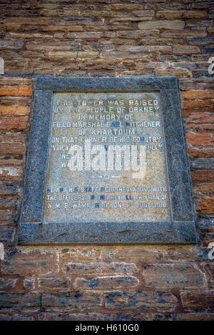 Plaque on the Kitchener Memorial tower at Marwick Head, Mainland Orkney, Scotland, UK - Stock Photo