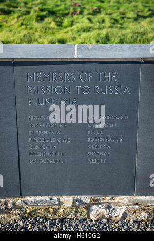 Members of the mission to Russia's names on a memorial to Lord Kitchener who died when HMS Hampshire sank on 5th - Stock Photo