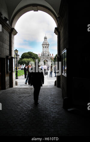 Opening arch entrance to Trinity College in Dublin, Ireland - Stock Photo