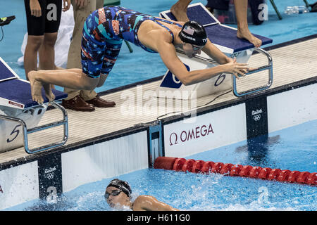 Dana Vollmer (USA) competing in the Women's 4 x 100m Freestyle Relay final at the 2016 Olympic Summer Games. ©Paul - Stock Photo