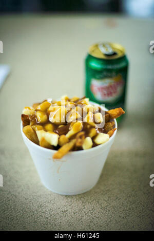 Canada's national cuisine, poutine and a cold can of Canada Dry ginger ale - Stock Photo
