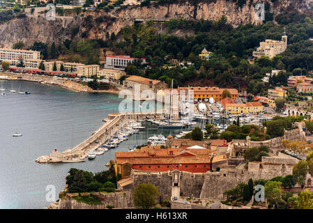 Nice, France: panoramic top view of Port - Stock Photo