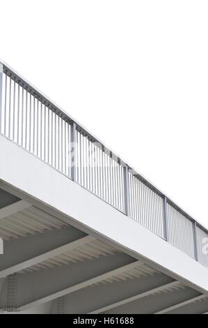 Steel bridge girder span, blue grey metal pillar rails, modern contemporary industrial flyover overpass, large detailed - Stock Photo