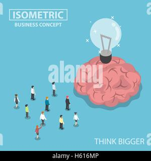 Isometric business people standing in front of the big brain and light bulb of idea, think bigger concept - Stock Photo