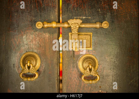 Ancient lock, Embekke Devale Temple, Kandy, Sri Lanka - Stock Photo