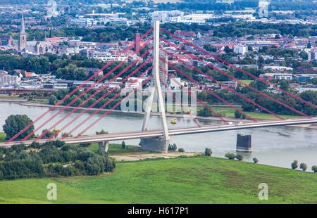 Niederrheinbrücke bridge arcross river Rhine, in Wesel, Germany, - Stock Photo