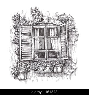 Window with open wooden shutters. Vintage sketch isolated on white background - Stock Photo