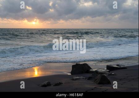 Beach at sunset, Negombo, Sri Lanka - Stock Photo