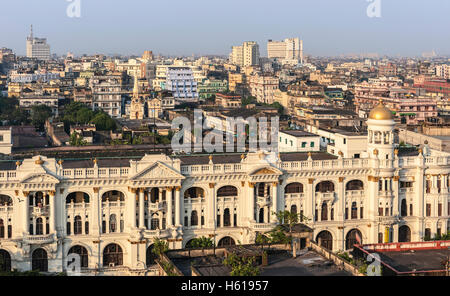 Elevated view of  Kolkata skyline next to Jawaharlal Nehru Road with view of prominent buildings in Kolkata. - Stock Photo