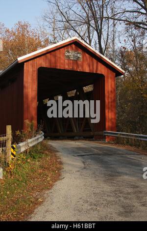 Charleton Mill Covered Bridge in Autumn, Greene County, Ohio. Built 2013. Wilberforce, Ohio, USA. - Stock Photo