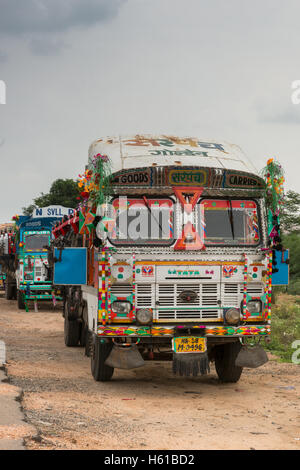 Tata truck parked along the road. - Stock Photo