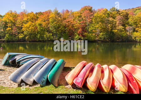 Kayaks, canoes and row boats lined up on the shore of Little Pond state campground in the Catskills Mountains of - Stock Photo